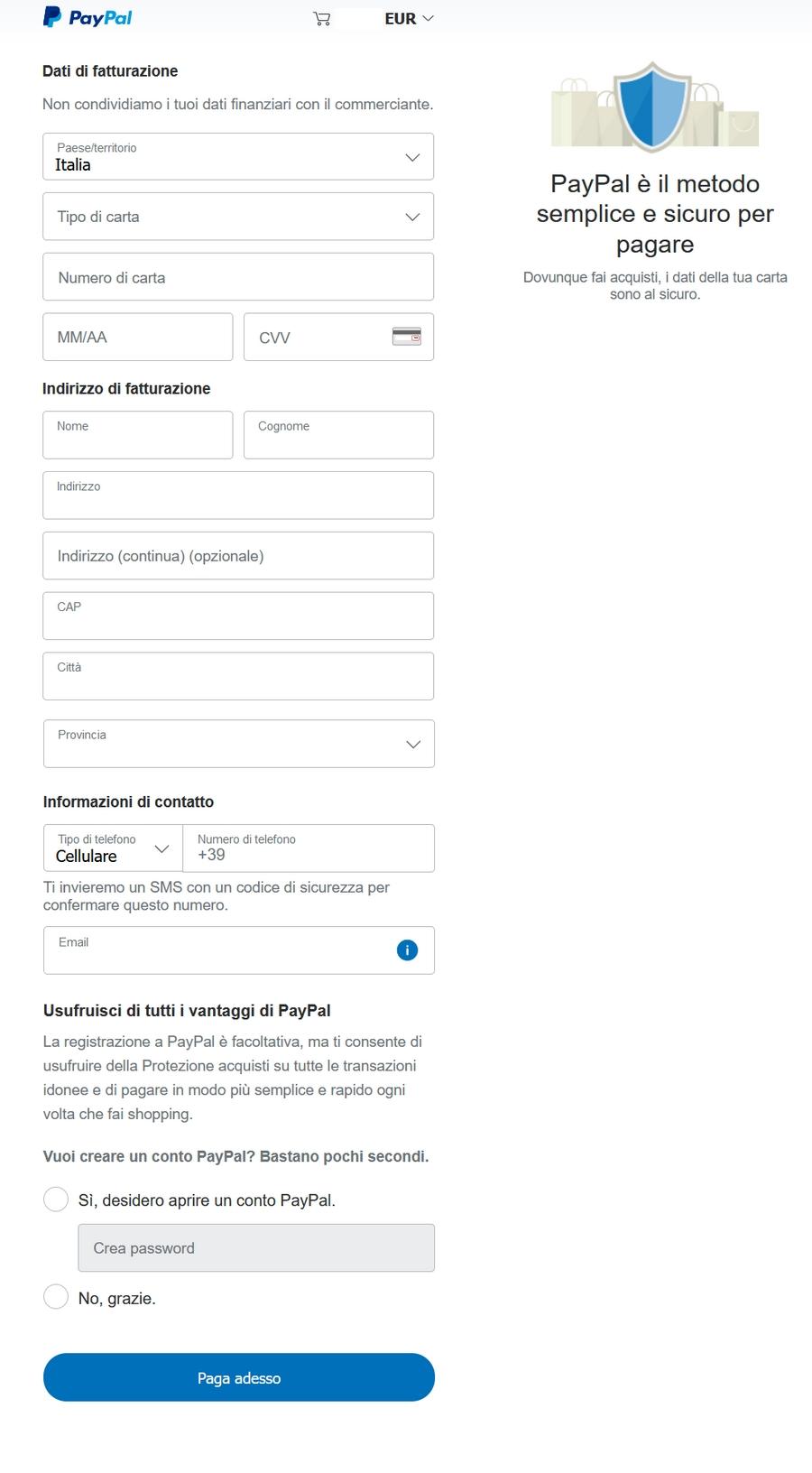 Come pagare con PayPal seconda schermata