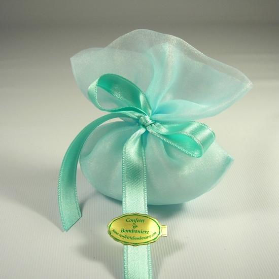 Bomboniere Matrimonio Verde Tiffany.Sacchetto Portaconfetti Verde Acqua Confetti Bomboniere