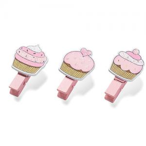 Set tre mollettine cupcakes rosa